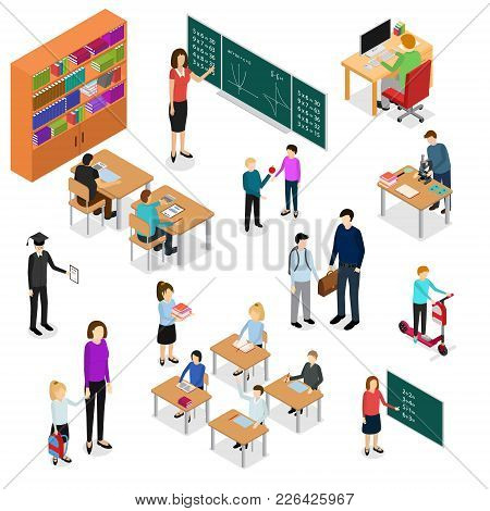 Children Student And Teacher Education Concept 3d Isometric View Lesson On Classroom. Vector Illustr