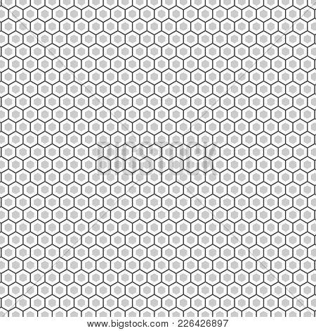 Hexagon Seamless Vector Texture. Hexagonal Grid Repeat Pattern. Geometric Seamless Pattern Monochrom