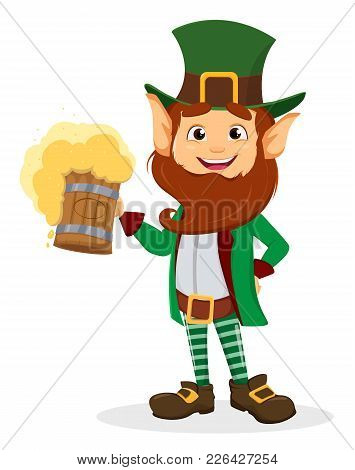 Smiling Cartoon Character Leprechaun With Green Hat Holding A Pint Of Beer