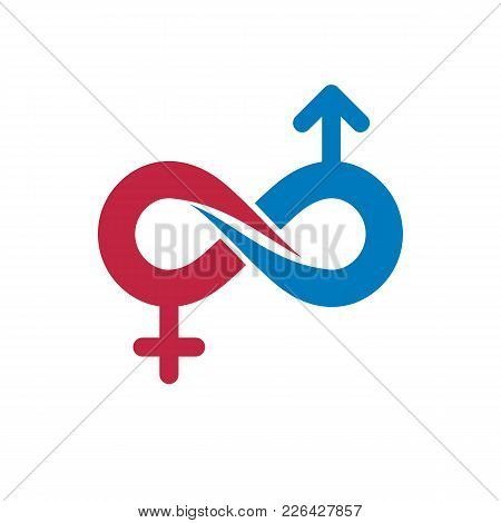Eternal Couple Conceptual Logo, Vector Symbol Created With Infinity Sign And Male Mars An Female Ven