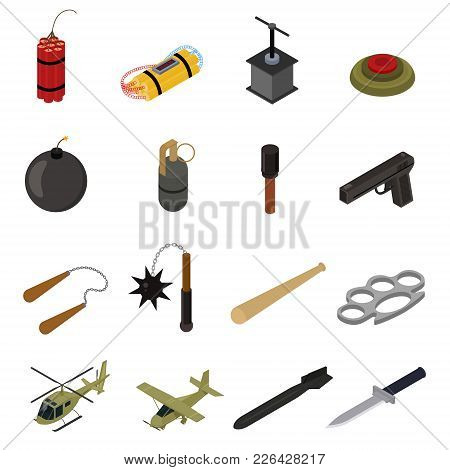 Weapons 3d Icons Set Isometric View Defense Element For Web Design. Vector Illustration Of Weapon Mi