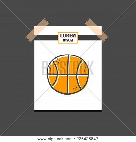 Vector Illustration With Cartoon Hand Drawn Isolated Basketball Ball Icon. Sport Game Symbol. Vector