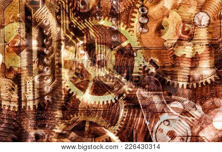 abstract industrial background with gears