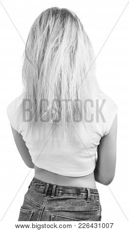 Back View Of Woman With Damaged Blonde Hair. Isolated On White.