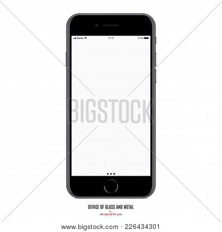 Smartphone In Matte Black Color With Blank Screen On White Background. Stock Vector Illustration Eps