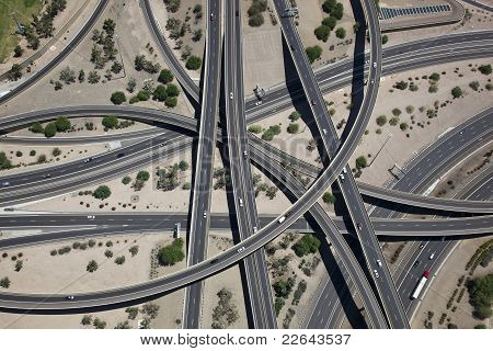 Aerial of the Mini Stack Interchange in Phoenix, Arizona poster