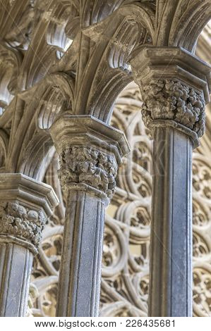 Vic,spain-november 18,2011: Detail Cloister, Artistic Columns In Cathedral Of Vic, Catalonia, Spain.