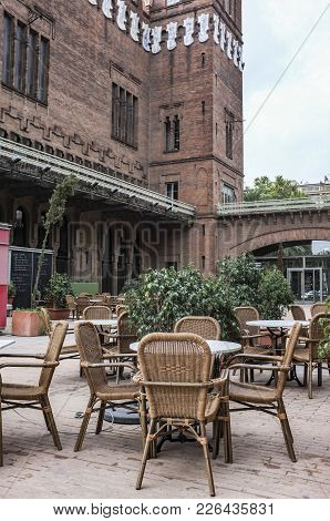 Barcelona,spain-september 5,2011: Architecture, Building And Terrace Bar, Modernist Style, Castle, C