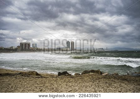 Barceloneta Beach, Shoreline Of The City In A Storm Day, Barcelona.