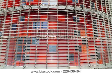 Barcelona,spain-september 16,2011: Detail Colored Facade Tower, Torre Agbar, By Jean Nouvel, Iconic
