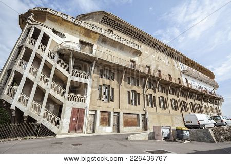 Cerbere-france,june 17,2011: Old Hotel Belvedere Du Rayon Vert, Cerbere,france.built Between 1928 An