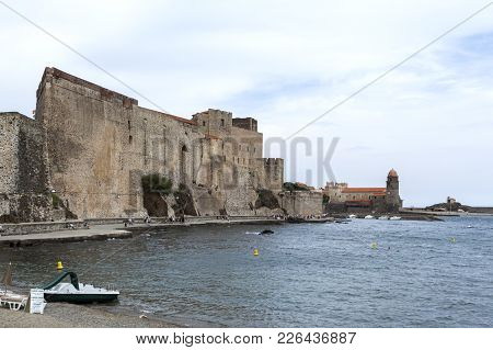 Collioure,france- June 17,2011: View Of Village, Beach And Castle,chateau Royal, Collioure In Cote V