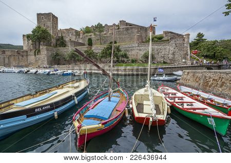 Collioure,france- June 17,2011: View Of Village Collioure In Cote Vermeille Coast. Chateau Royal, Ro