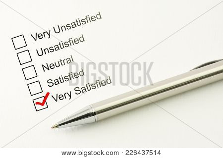 Satisfied Customer Service Feed Back. Consumer Satisfaction Concept. Marked Checkbox Between Very, U