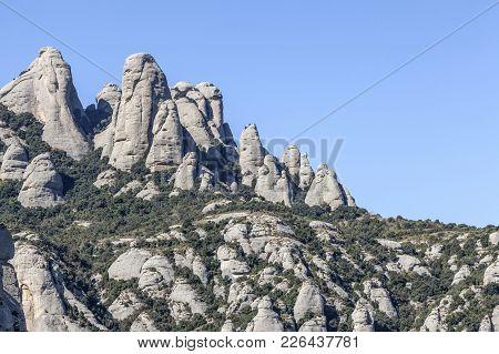 Rock Formations, Landscape View, Mountain Peaks Of Montserrat, Massif Near To Barcelona, Catalonia,