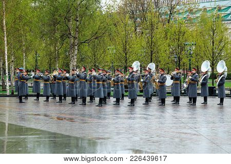 Moscow, Russia - May 08, 2017: The Military Exemplary Band Of The Honor Guard At The Solemn Event At