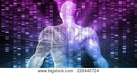Genetic Research on Human Body DNA Structure 3D Render