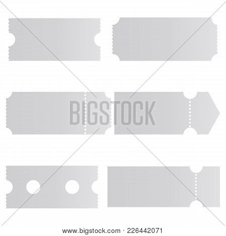 Set Of Blank Tickets Mockups Isolated On White Background. Ticket Template For Design. Vector Illust