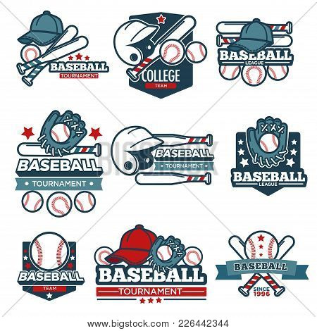 Baseball Championship Logo Templates For Sport Club Or Team League Badge. Vector Baseball Game Ball,