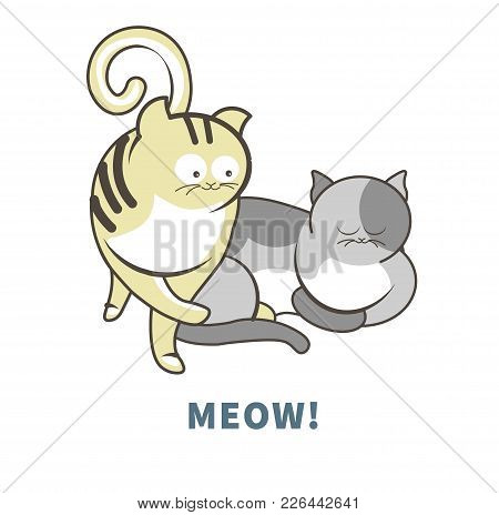 Meow Sign On Poster With Adorable Cats With Funny Faces. Cute Pets That Play And Sleep. Kittens With