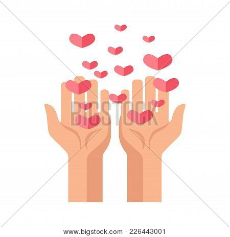 Charity Hands And Hearts Logo Template For Donation Or Social Action Organization And Volunteering F
