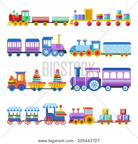 Toy Trains With Kid Toys And Children Playthings For Kindergarten Boys Children Design. Vector Isola