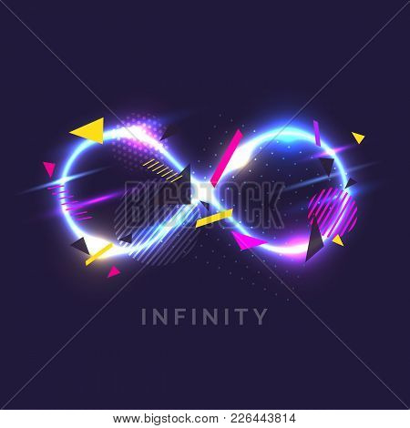 The Infinity Sign In The Modern Graphics With Glow Effects. Vector Illustration.