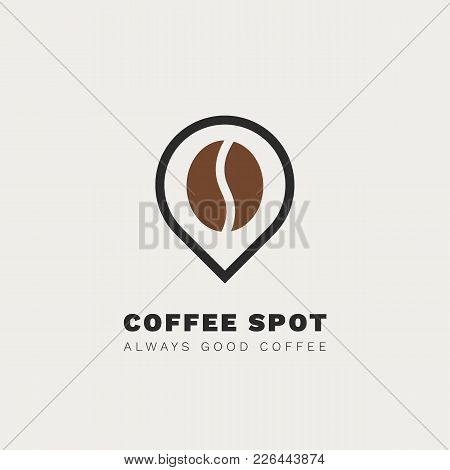Minimalistic Vector Logo For Coffee Shop. Outline Logotype With Coffee Bean And Navigation Mark