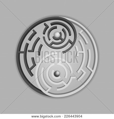 Graphic Of Yin Yang Symbol Combined With Maze