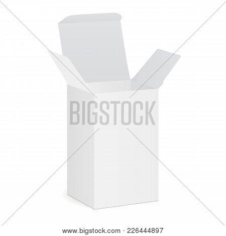 Blank Opened Cardboard Rectangular Box. Packaging Mockup For Medical Drug. Vector Illustration