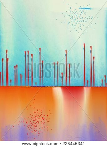 Abstract Painting. Blue and orange colors with paint drops. 3D rendering