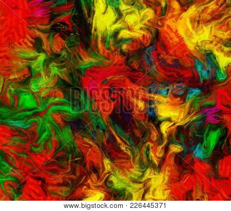 Vivid Colorful Abstract Painting. 3D rendering