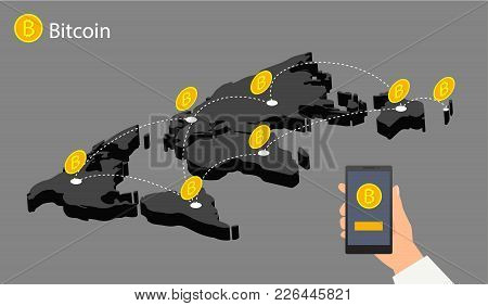 Flat Design With Human Hands, Smartphones And Golden Bitcoins. Eps 10 Vector File. Flat Modern Desig