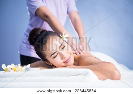 Happy Woman Relax In Spa