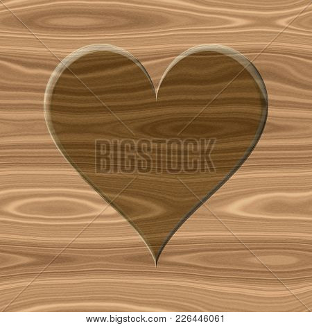 Brown 3d Flat Heart Icon On Wooden Beige Texture Surface Seamless Wood Pattern