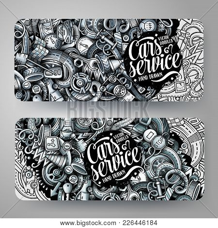 Cartoon Graphics Vector Hand Drawn Doodles Automotive Corporate Identity. 2 Horizontal Banners Desig
