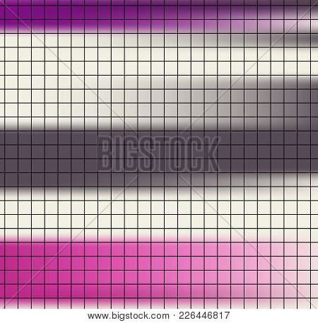 Black Square Paper Grid On Colorful Striped Pink Brown Background. Striped Quick Note Sheet Design A