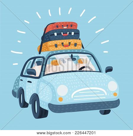Vector Cartoon Illustration Of Car For Traveling. Vehicle Transport With Baggage For Family Trip. Lu