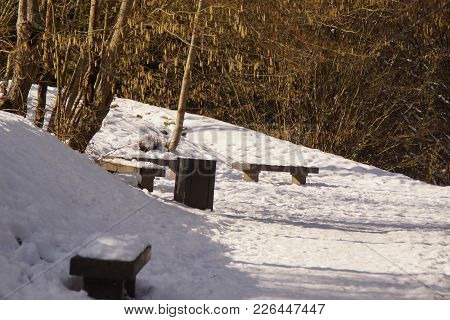 Benches In A Forest Covered With Snow. The Basis Is Completely Covered With Snow, We Do Not See The