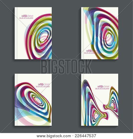 Set Magazine Cover With Colored Geometric Shapes. For Book, Brochure, Flyer, Poster, Booklet, Leafle