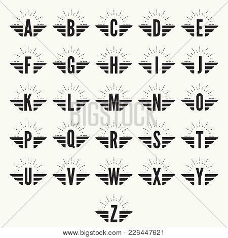 Elegant Dynamic Alphabet Letters With Wings. Monogram Wing Logo Mockup. Creative Design Element. Cor