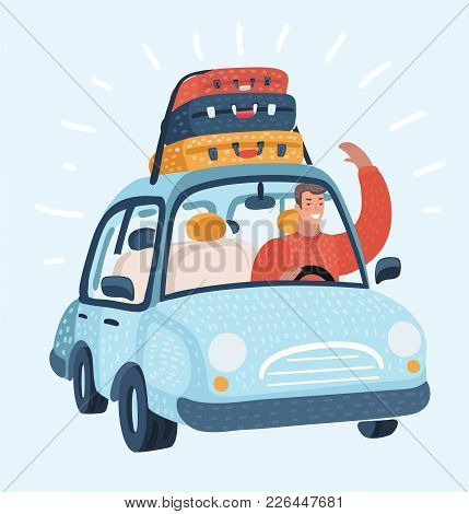 Vector Cartoon Illustration Of Travel Man Drive Car. Luggage Trunks Suitcase On Top. Travel Or Reloc
