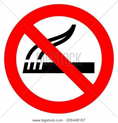 No Smoking Red Sign On A White Background