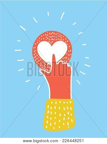Vector Cartoon Funny Illustration Of Pointing Finger On Heart Button. Human Hand, Love Symbol. Signa
