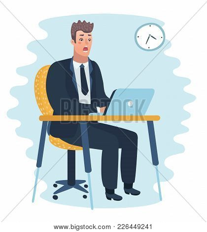 Frustrated Scared Business Man Cartoon Character On Laptop Man At The Table In The Office Working On