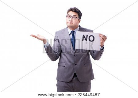 Businessman in negative no answer isolated on white background