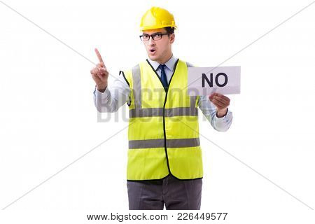 Construction supervisor with no asnwer isolated on white backgro