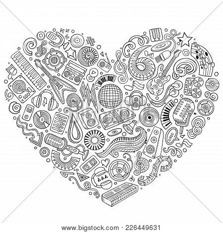 Set Of Vector Cartoon Doodle Musical Objects Collected In A Heart. Disco Music Subjects