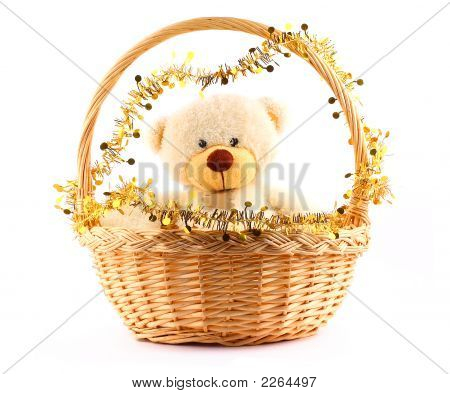White Teddy Bear In A Basket