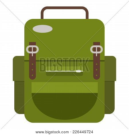 Travel Backpack Icon. Flat Illustration Of Travel Backpack Icon For Web